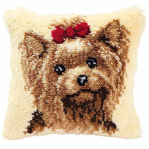 Yorkshire Terrier Latch Hook Cushion Kit By Vervaco