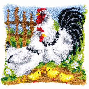 Chicken Family Latch Hook Cushion Kit By Vervaco
