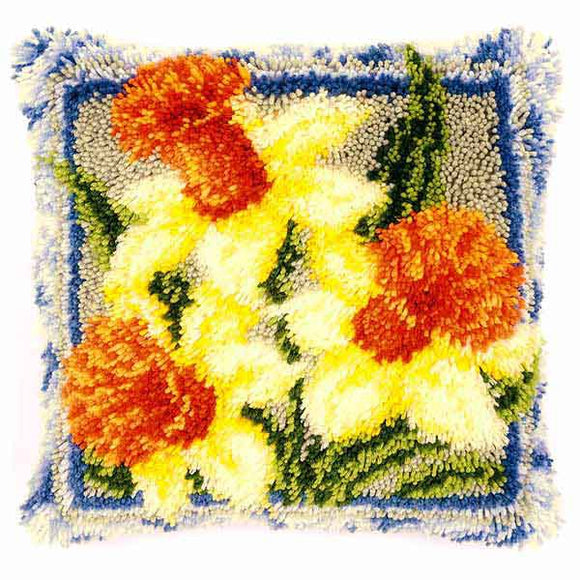 Daffodils Latch Hook Cushion Kit By Vervaco