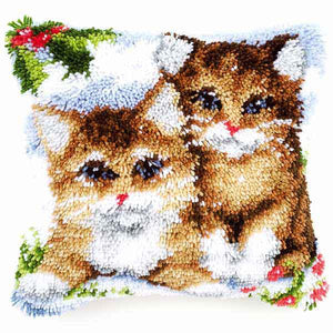 Snow Cats Latch Hook Cushion Kit By Vervaco