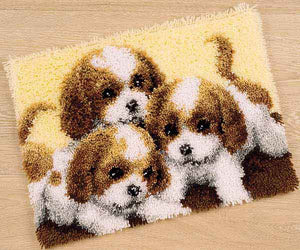 Three Puppies Latch Hook Rug Kit By Vervaco