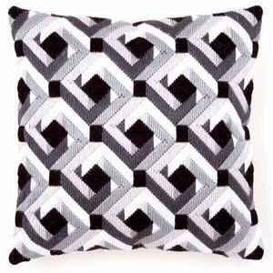 Black and White Long Stitch Cushion Kit By Vervaco