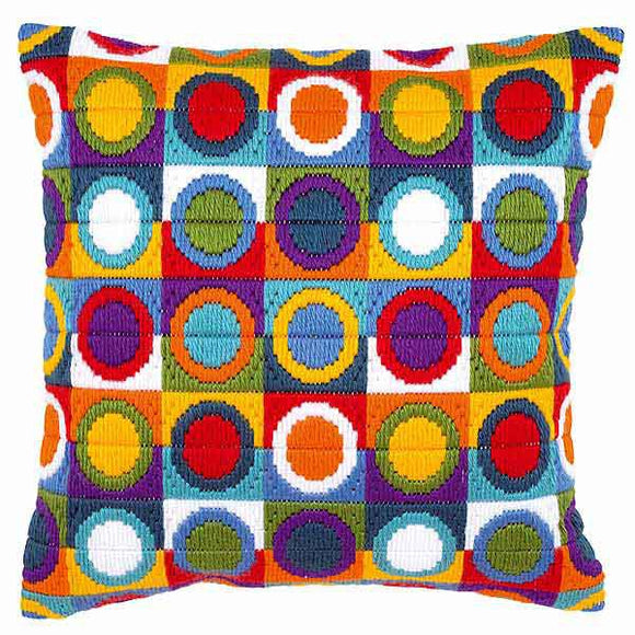 Circles Long Stitch Cushion Kit By Vervaco