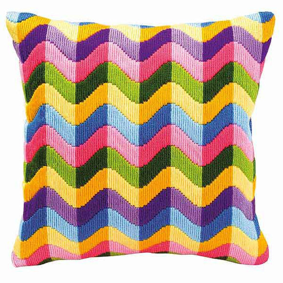 Colour Waves Long Stitch Cushion Kit By Vervaco