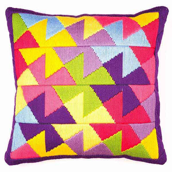 Multi Colour Geometric Long Stitch Cushion Kit By Vervaco