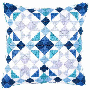 Blue Triangles Long Stitch Cushion Kit By Vervaco