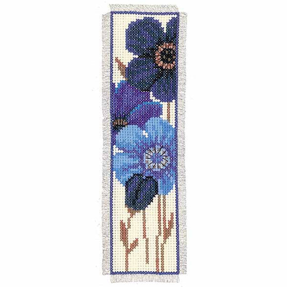Big Blue Flowers Bookmark Cross Stitch Kit By Vervaco