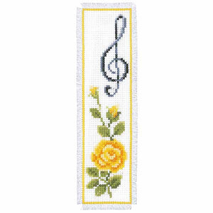 Rose and Treble Clef Bookmark Cross Stitch Kit By Vervaco
