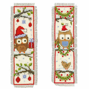 Christmas Owls Bookmark Cross Stitch Kit By Vervaco