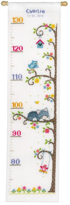 Cat in the Tree Height Chart Cross Stitch Kit By Vervaco