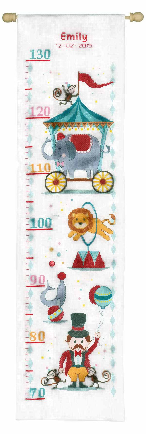 Circus Height Chart Cross Stitch Kit By Vervaco