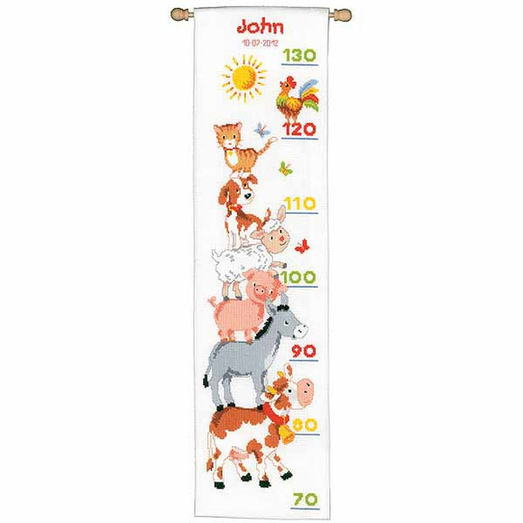 Farm Animals Height Chart Cross Stitch Kit By Vervaco