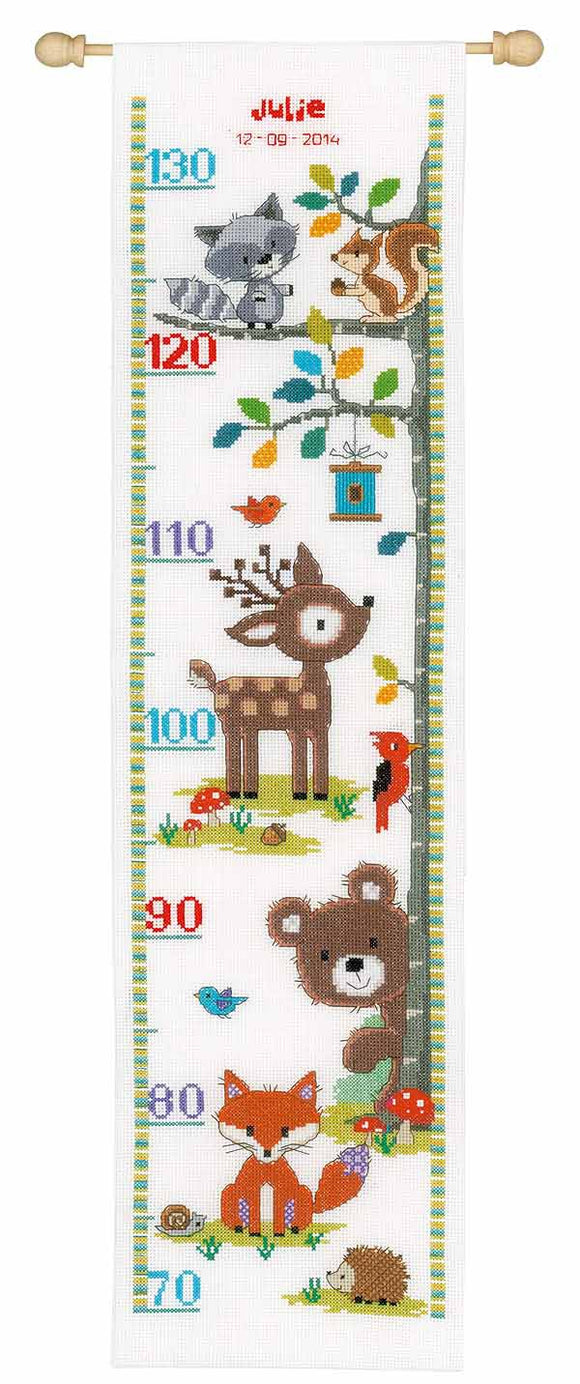 Forest Animals Height Chart Cross Stitch Kit By Vervaco