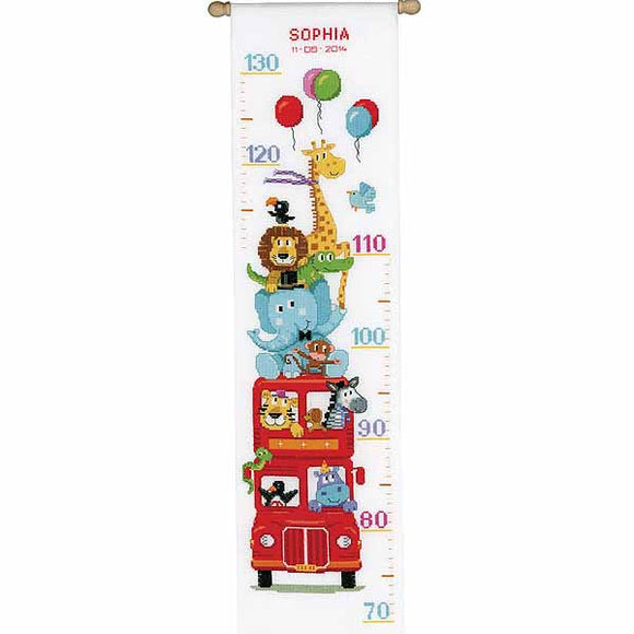 Funny Bus Height Chart Cross Stitch Kit By Vervaco