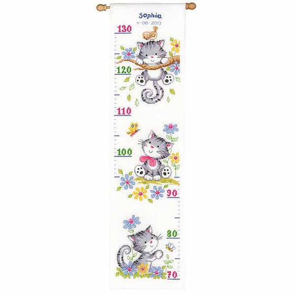 Kitten Height Chart Cross Stitch Kit By Vervaco
