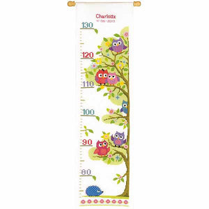 Owls Height Chart Cross Stitch Kit By Vervaco