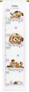 Playful Pups Height Chart Cross Stitch Kit By Vervaco