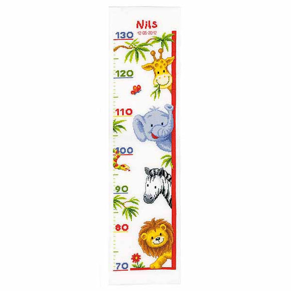 Zoo Animals Height Chart Cross Stitch Kit By Vervaco