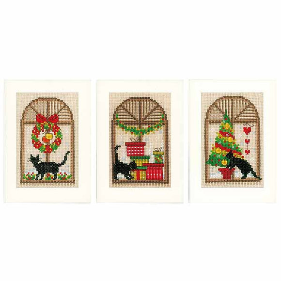 Christmas Cats Cross Stitch Christmas Card Kit By Vervaco