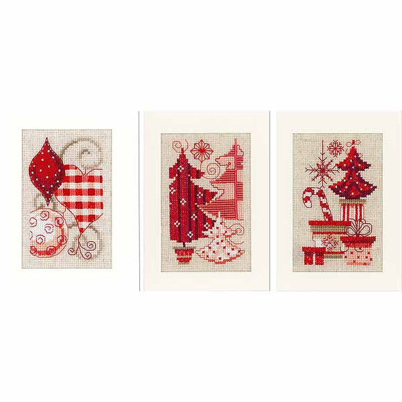 Baubles and Trees Cross Stitch Christmas Card Kit By Vervaco