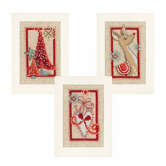 Merry Christmas Cross Stitch Christmas Card Kit By Vervaco