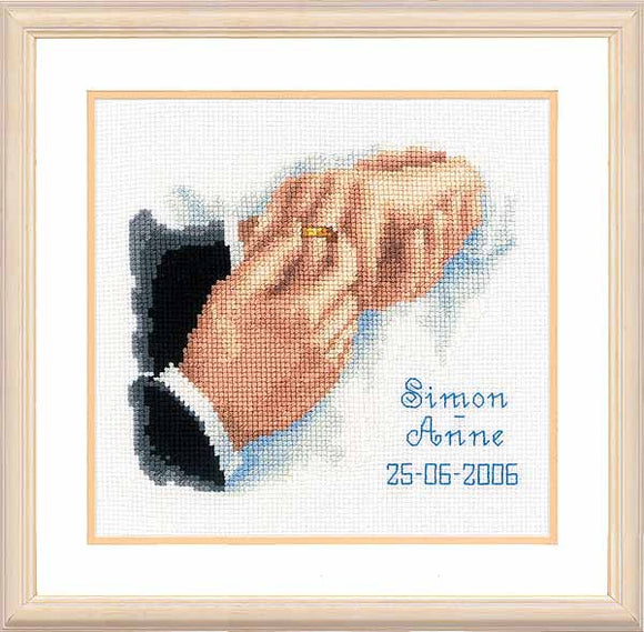 With this Ring Wedding Sampler Cross Stitch Kit By Vervaco