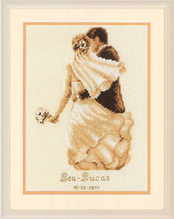 Private Moment Wedding Sampler Cross Stitch Kit By Vervaco