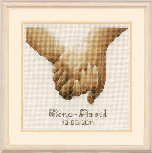 Holding Hands Wedding Sampler Cross Stitch Kit By Vervaco