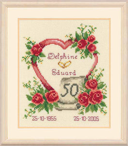 Golden Wedding Anniversary Sampler Cross Stitch Kit By Vervaco