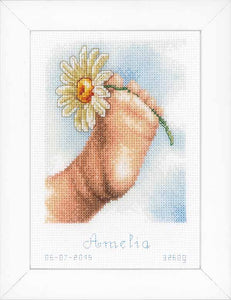 Baby Foot Birth Sampler Cross Stitch Kit By Vervaco