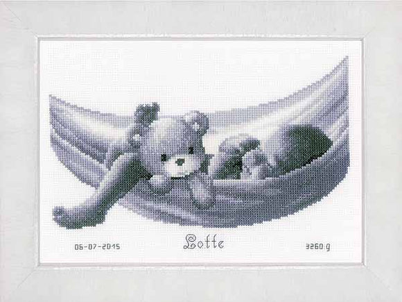 Baby in Hammock Birth Sampler Cross Stitch Kit By Vervaco