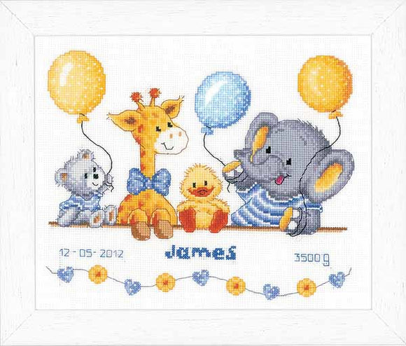 Animal Cheer Birth Sampler Cross Stitch Kit By Vervaco
