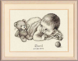 Baby with Teddy Birth Sampler Cross Stitch Kit By Vervaco