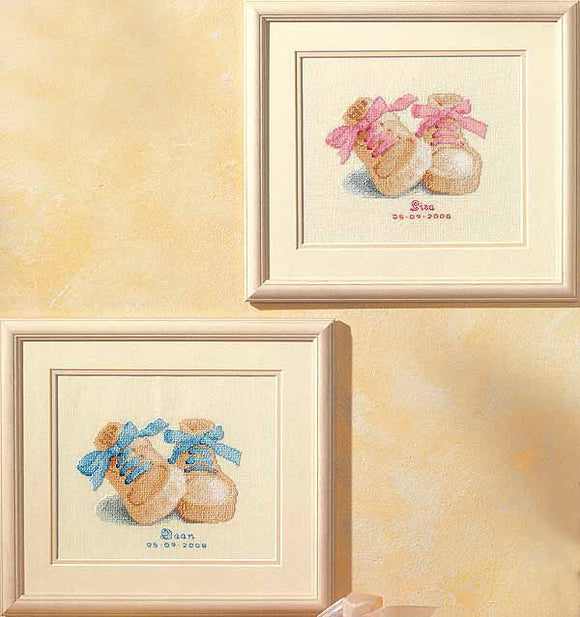 Baby Booties Birth Sampler Cross Stitch Kit By Vervaco