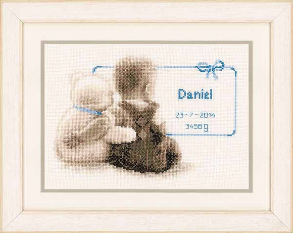 Cuddle Teddy Birth Sampler Cross Stitch Kit By Vervaco