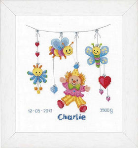 Clown Delight Birth Sampler Cross Stitch Kit By Vervaco