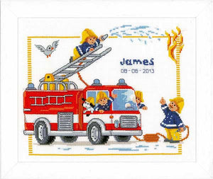 Fire Engine Birth Sampler Cross Stitch Kit By Vervaco