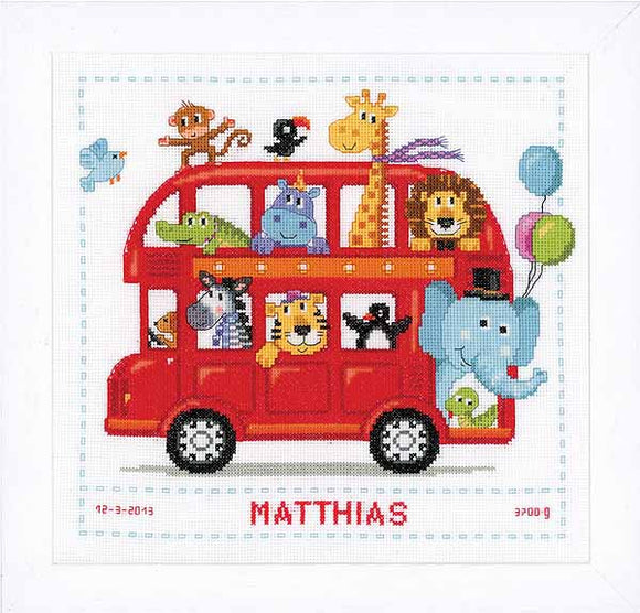 Funny Bus Birth Sampler Cross Stitch Kit By Vervaco