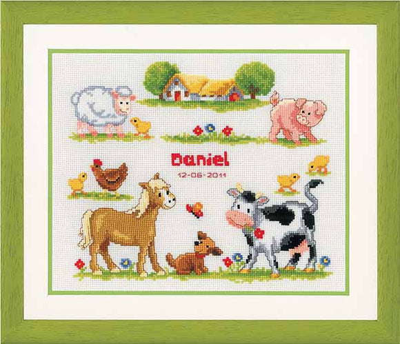 Farm Animals Birth Sampler Cross Stitch Kit By Vervaco