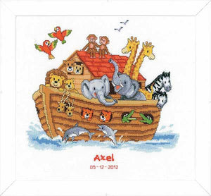 Noahs Ark Birth Sampler Cross Stitch Kit By Vervaco