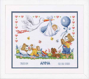 New Arrival Birth Sampler Cross Stitch Kit By Vervaco