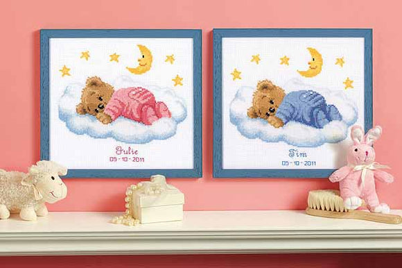 Teddy on Clouds Birth Sampler Cross Stitch Kit By Vervaco