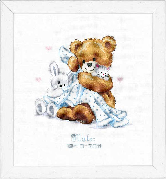 Teddy and Blanket Birth Sampler Cross Stitch Kit By Vervaco