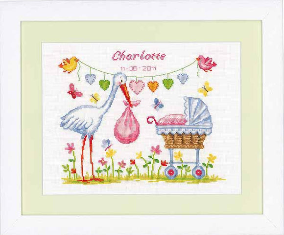 Stork and Pram Birth Sampler Cross Stitch Kit By Vervaco