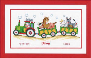 Tractor Birth Sampler Cross Stitch Kit By Vervaco