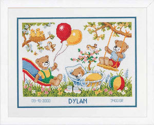 Teddies in the Garden Birth Sampler Cross Stitch Kit By Vervaco