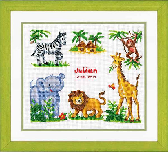 Zoo Animals Birth Sampler Cross Stitch Kit By Vervaco