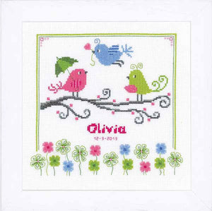 Birds and Flowers Birth Sampler Cross Stitch Kit By Vervaco