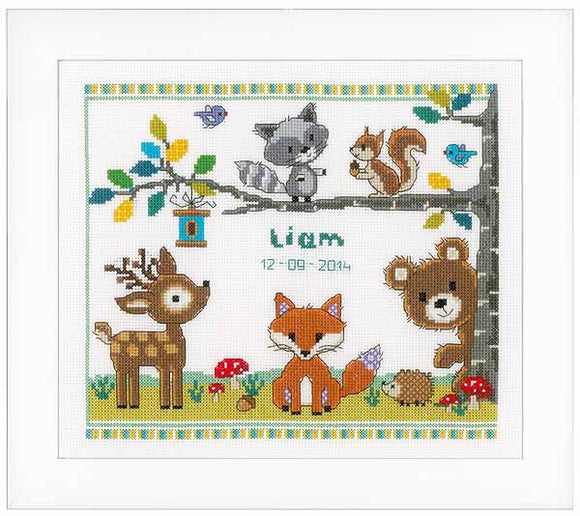 Forest Animals Birth Sampler Cross Stitch Kit By Vervaco