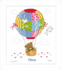 Hot Air Balloon Birth Sampler Cross Stitch Kit By Vervaco